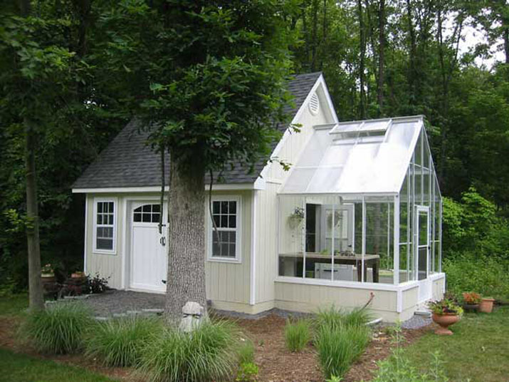Glass & Poly Gable Attached Greenhouse